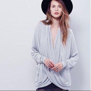 Free People Sheila Hacci Drape Crossover Sweater